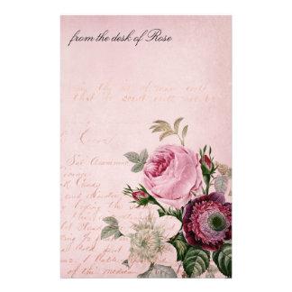 Vintage Rose Flower Letter Stationery Paper