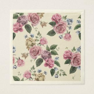 Vintage Rose Flowers Pink Lavender Floral Disposable Napkins