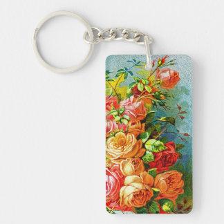 Vintage Rose Garden Single-Sided Rectangular Acrylic Key Ring