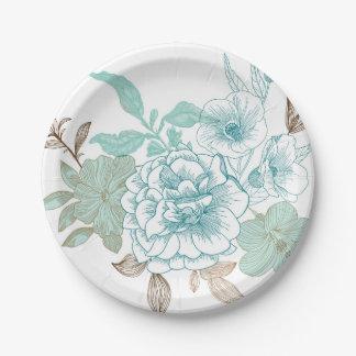 Vintage Rose Garden paper plates 7 Inch Paper Plate