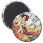 Vintage Rose Goddess 6 Cm Round Magnet