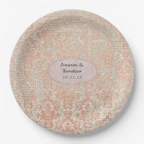 Vintage Rose Gold Damask Shabby-Chic Wedding Paper Plate