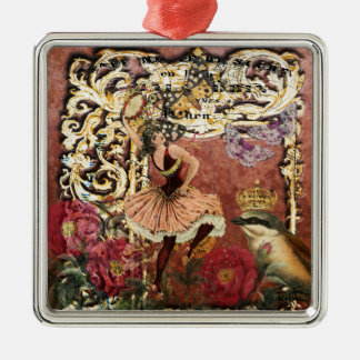 Vintage Rose Gypsy Dancer French Collage Christmas Ornament