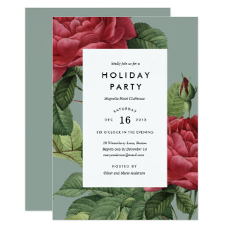 Vintage Rose Holiday Party Invitation