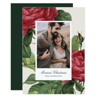 Vintage Rose Holiday Photo Card
