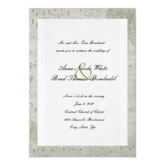 Vintage Rose Inverted Music Wedding Invitation