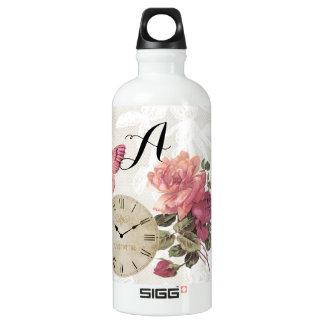 Vintage Rose Lace Clock Butterfly Traveller Water Bottle