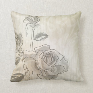 Vintage Rose Lineart American MoJo Pillow Throw Cushions