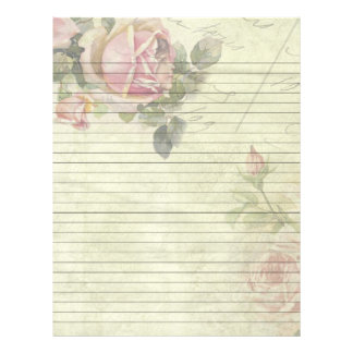 Vintage Rose Lined Recipe Pages