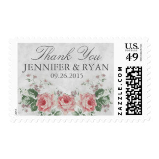 VINTAGE ROSE LINEN WEDDING THANK YOU POSTAGE