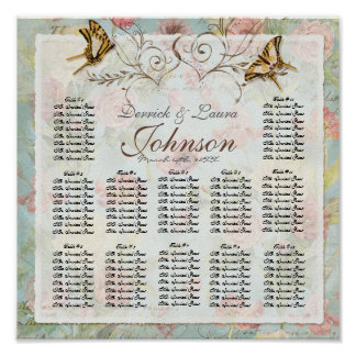 Vintage Rose n Birds Reception Table Seating Chart Print