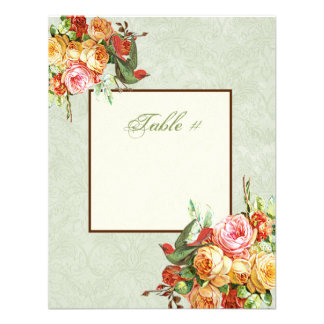 Vintage Rose n birds Table Number Card Invite