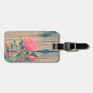 Vintage Rose on an Old Wood Background Bag Tag