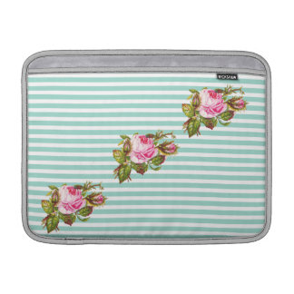 Vintage Rose On Mint Green Stripes Sleeve For MacBook Air