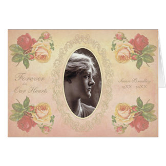 Vintage Rose Oval Photo Frame Sympathy Thank You N Card