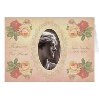 Vintage Rose Oval Photo Frame Sympathy Thank You N Note Card