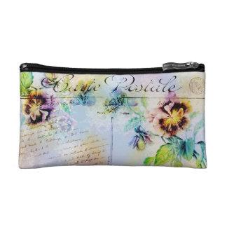 Vintage rose pansy postcard makeup bag