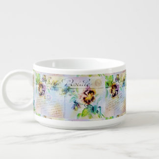 Vintage rose pansy postcard small soup bowl with handle