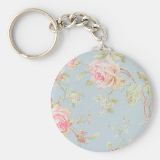 vintage rose pattern shabby chic style blue keychains