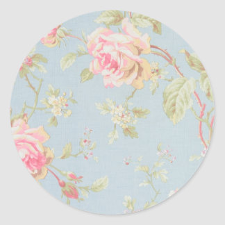 vintage rose pattern shabby chic style blue round sticker