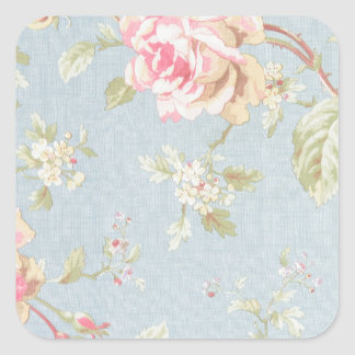 vintage rose pattern shabby chic style blue square sticker