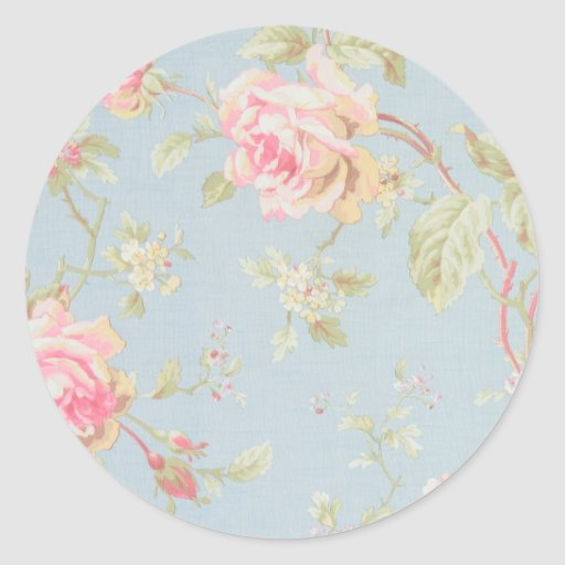 vintage rose pattern shabby chic style blue round stickers