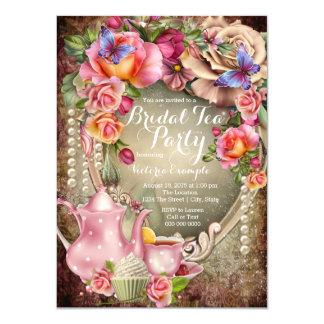 Vintage Rose Pearl Bridal Tea Party 11 Cm X 16 Cm Invitation Card