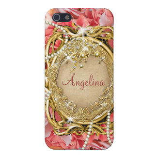 Vintage rose pearls sparkle name cases for iPhone 5