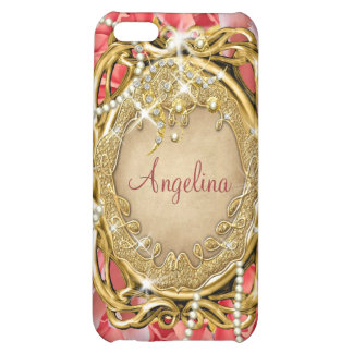 Vintage rose pearls sparkle name iPhone 5C cover