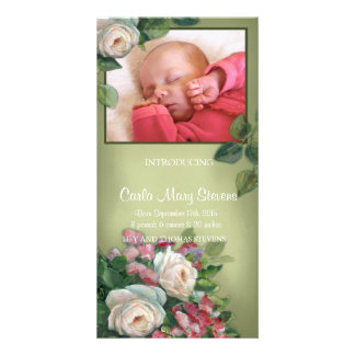 Vintage Rose Personalized Photo Card