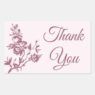 Vintage Rose Pink Floral Wedding Sticker / Seal