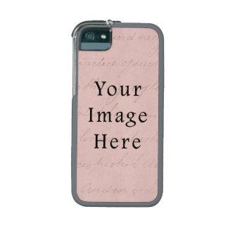 Vintage Rose Pink Script Text Parchment Paper iPhone 5 Cover