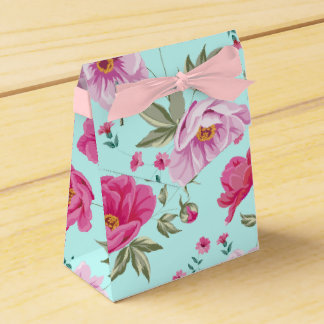 Vintage rose pink teal spring floral pattern paint favour box