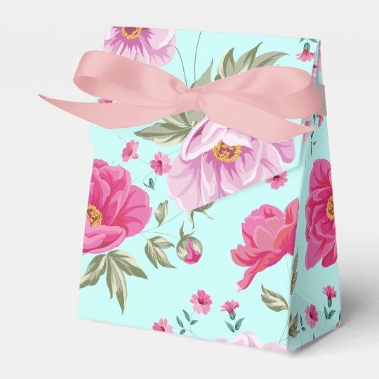 Vintage rose pink teal spring floral pattern paint