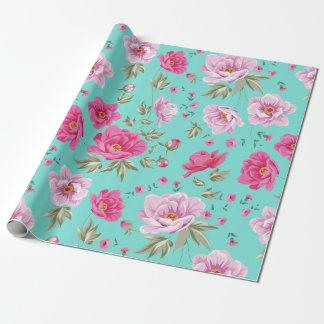 Vintage rose pink teal spring floral pattern wrapping paper