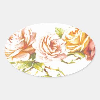 Vintage Rose Print Oval Sticker