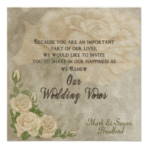 Vintage Rose Renewal Wedding Vows - Invitation Personalized Announcements