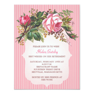 "Vintage Rose Retirement Formal 4.25"" X 5.5"" Invitation Card"