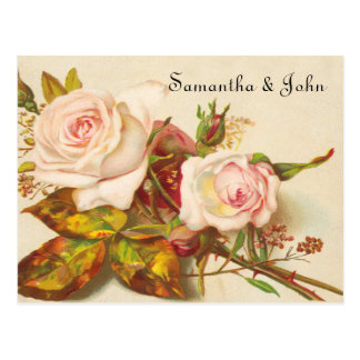 Vintage Rose Save the Date Postcard