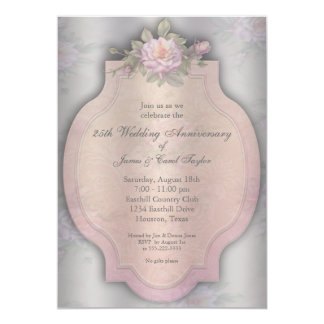 Vintage Rose Silver 25th Anniversary Party Card