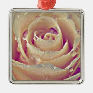 vintage rose Silver-Colored square decoration