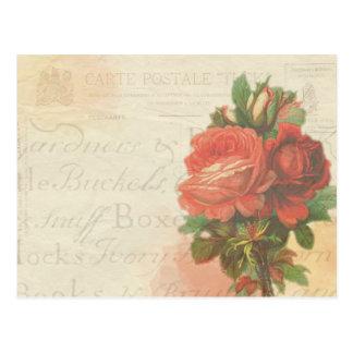 Vintage rose stationary post card