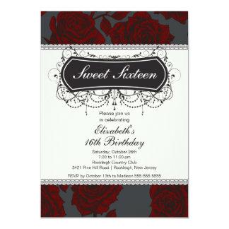 """Vintage Rose Sweet Sixteen Birthday Invitation 5"""" X 7"""" Invitation Card"""