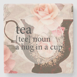Vintage Rose Teacup Hug Quote Stone Coaster