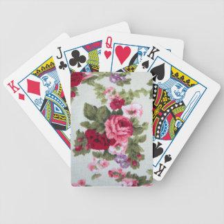 Vintage rose textile print bicycle playing cards