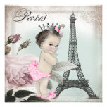 Vintage Rose Tower Paris Baby Shower Personalised Announcement