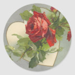 Vintage Rose Wedding Classic Round Sticker