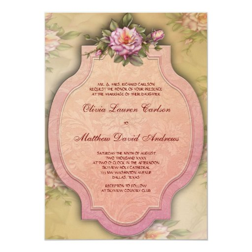 Vintage Rose Wedding Invitations