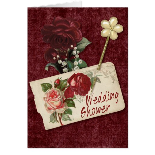Vintage Rose Wedding Shower Card