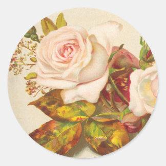 Vintage Rose Wedding Round Sticker